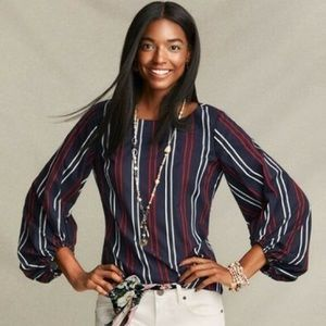 Cabi 5516 Navy Cotton Striped Flag Puff Blouse M